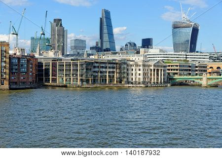 London skyline - City of London and Southwark bridge.UK.