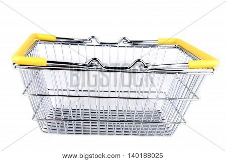 closeup of the shopping basket isolated on white
