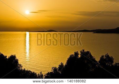 Sea coast and landscape of Sithonia west coast at sunset, Greece