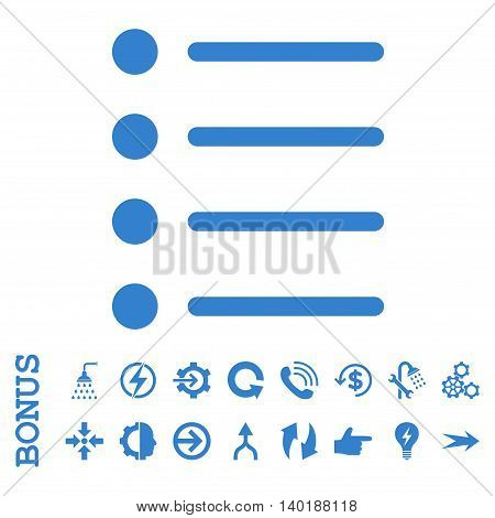 Items vector icon. Image style is a flat pictogram symbol, cobalt color, white background.