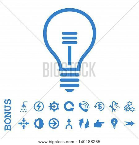 Lamp Bulb vector icon. Image style is a flat pictogram symbol, cobalt color, white background.