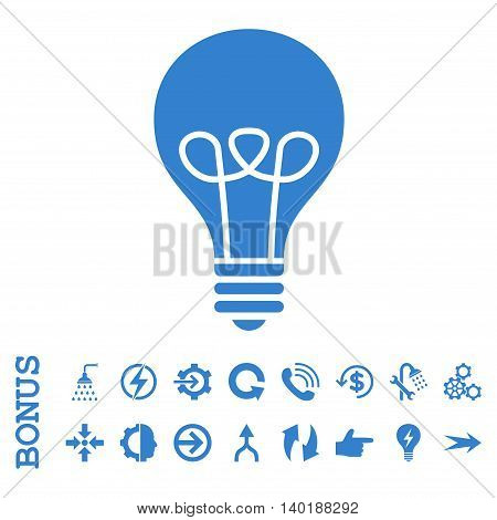 Lamp Bulb vector icon. Image style is a flat iconic symbol, cobalt color, white background.