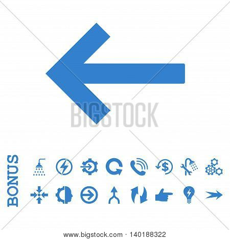 Left Arrow vector icon. Image style is a flat pictogram symbol, cobalt color, white background.