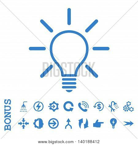 Light Bulb vector icon. Image style is a flat pictogram symbol, cobalt color, white background.
