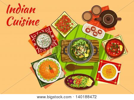 Indian cuisine original dishes flat icon of spinach palak, chicken and tomato curry soup, chicken salad, almond soup, pork pulao, seafood soup chorba, green papaya salad and milk balls in syrup, tea