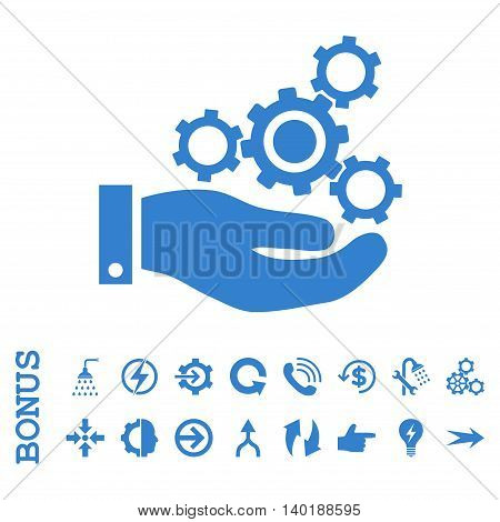 Mechanics Service vector icon. Image style is a flat iconic symbol, cobalt color, white background.