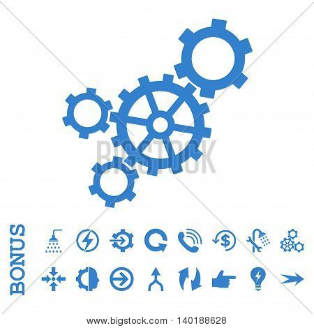 Mechanism vector icon. Image style is a flat iconic symbol, cobalt color, white background.