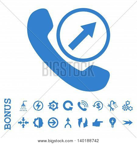Outgoing Call vector icon. Image style is a flat pictogram symbol, cobalt color, white background.