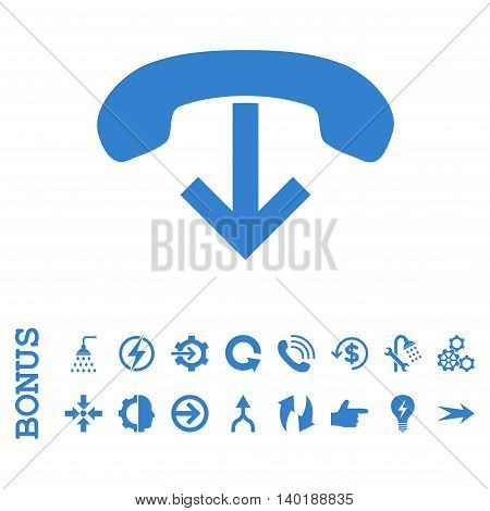 Phone Hang Up vector icon. Image style is a flat iconic symbol, cobalt color, white background.