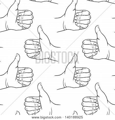 Seamless pattern hand showing symbol like. Making thumb up gesture. Drawn design element. Vector black and white illustration. Illustration for web poster print