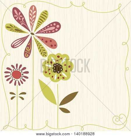 Floral card with seamless background. Use for printed materials, invitations, greeting cards, covers, placards, posters, postcards and brochures.
