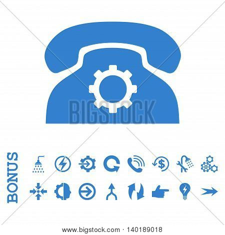Phone Settings vector icon. Image style is a flat pictogram symbol, cobalt color, white background.