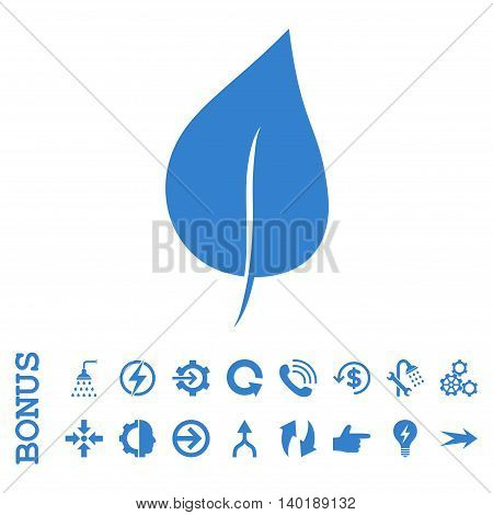 Plant Leaf vector icon. Image style is a flat iconic symbol, cobalt color, white background.