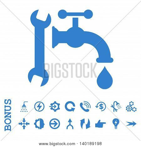 Plumbing vector icon. Image style is a flat iconic symbol, cobalt color, white background.