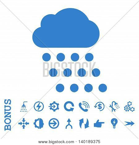 Rain Cloud vector icon. Image style is a flat pictogram symbol, cobalt color, white background.
