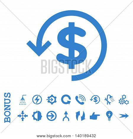 Refund vector icon. Image style is a flat pictogram symbol, cobalt color, white background.