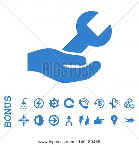 Repair Service vector icon. Image style is a flat iconic symbol, cobalt color, white background.
