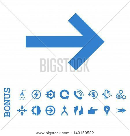 Right Arrow vector icon. Image style is a flat iconic symbol, cobalt color, white background.