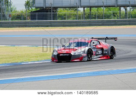 BURIRAM - THAILAND 24 : Audi R8 LMS Cup on display Buriram Super Race 2016 at Chang International Racing Circuit on July 24 2016 Buriram Thailand.