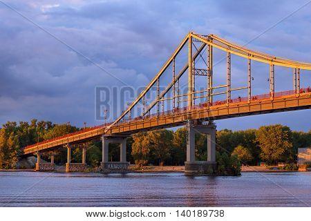 A part of the Trukhaniv Bridge in the evening Kiev Ukraine