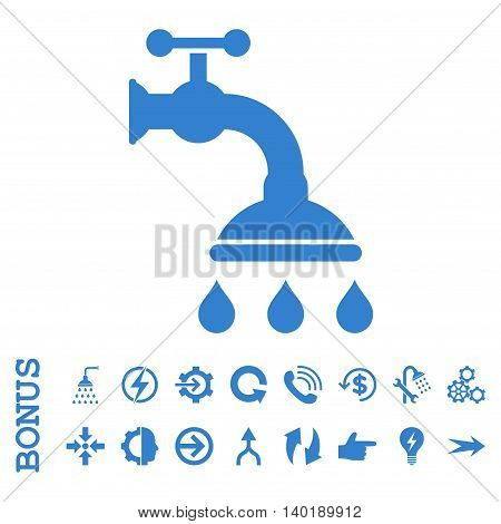 Shower Tap vector icon. Image style is a flat iconic symbol, cobalt color, white background.