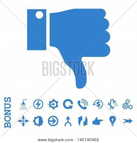 Thumb Down vector icon. Image style is a flat iconic symbol, cobalt color, white background.