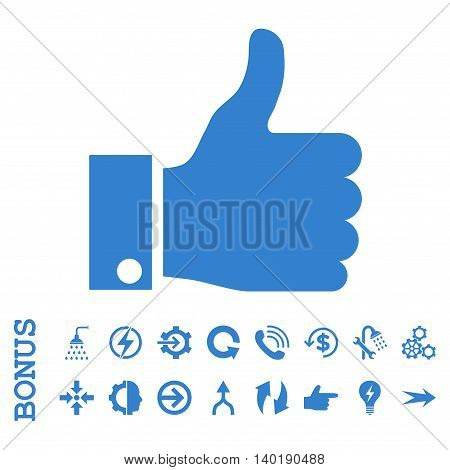 Thumb Up vector icon. Image style is a flat pictogram symbol, cobalt color, white background.