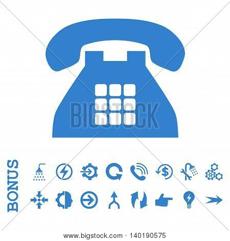 Tone Phone vector icon. Image style is a flat iconic symbol, cobalt color, white background.