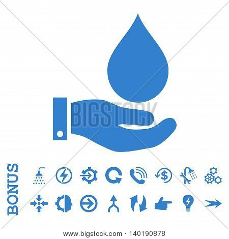 Water Service vector icon. Image style is a flat iconic symbol, cobalt color, white background.
