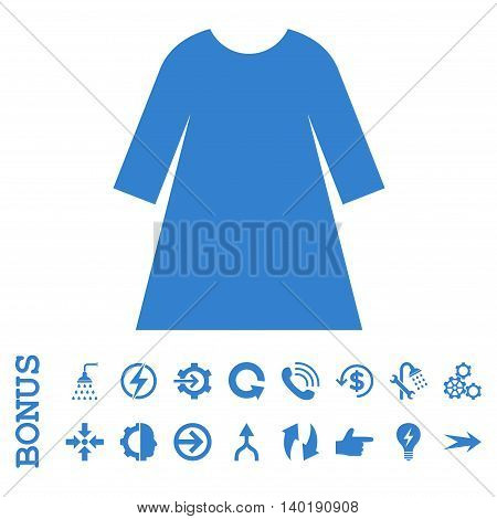 Woman Dress vector icon. Image style is a flat iconic symbol, cobalt color, white background.