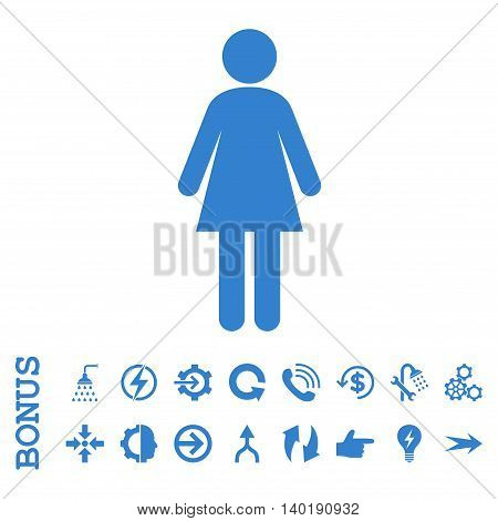 Woman vector icon. Image style is a flat pictogram symbol, cobalt color, white background.