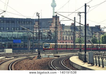 S-bahn passenger train approach to the platform. Berlin. Germany.