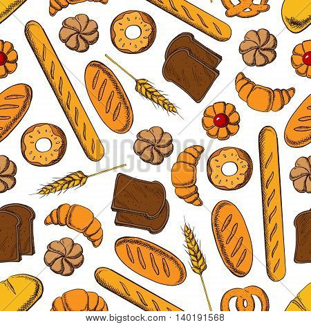 Bakery products seamless pattern with french croissant, glazed donut, bun with fruit jam, rye bread and wheat long loaves, baguette and salty bavarian pretzel with wheat ear on white background