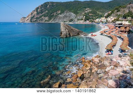 Beach of Monterosso along the Cinque Terre Italy
