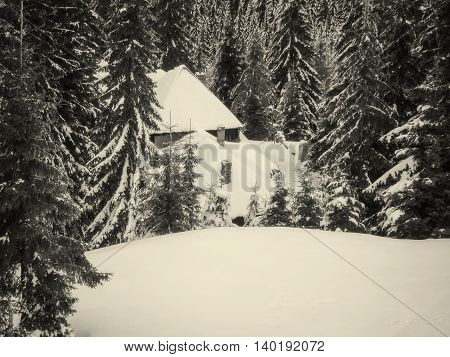 Snowy Wooden Cottage At Muntele Mic Resort Caransebes Romania Black And White Filter