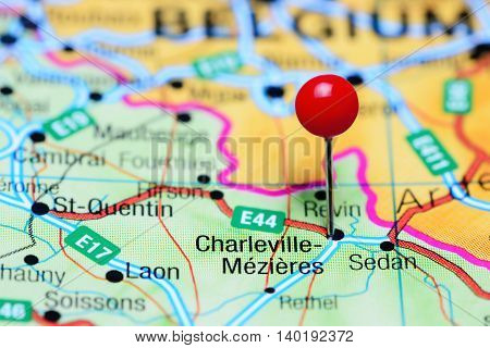 Charleville-Mezieres pinned on a map of France