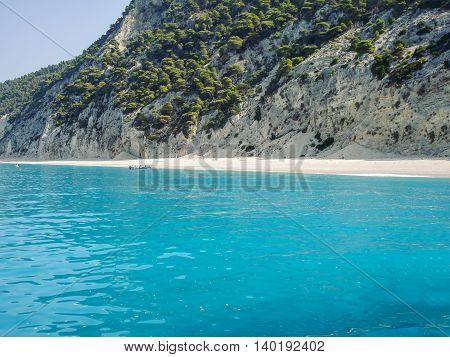 Beach On The Ionian Sea Island Of Lefkada Greece