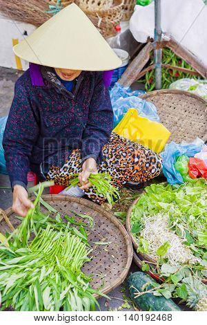 Hoi An, Vietnam - February 16, 2016: Asian trader in a traditional vietnamese hat selling fresh green garden stuff in the street market in Hoi An Vietnam. No face. Selective focus