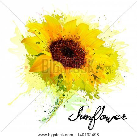 Abstract background with yellow sunflower. Vector