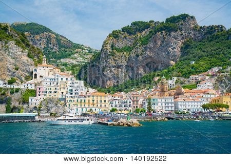 AMALFI ITALY - JULY 10 2016: The town of Amalfi along the Amalfi Coast in southern Italy.
