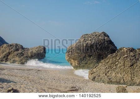 Turquoise Water Of Megali Petra Wild Beach In Lefkada Island In Greece
