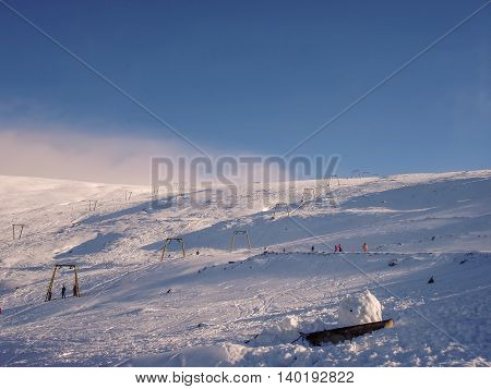 Panoramic View Of The Slope On The Skiing Resorts Small Mountain Muntele Mic Caransebes Romania