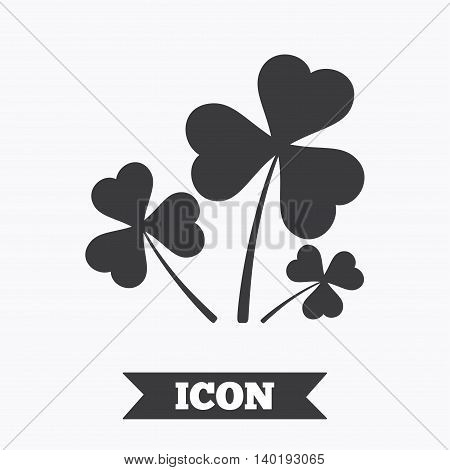 Clovers with three leaves sign icon. Saint Patrick trefoil shamrock symbol. Graphic design element. Flat trefoil clover symbol on white background. Vector