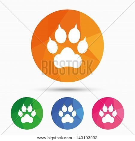 Dog paw with clutches sign icon. Pets symbol. Triangular low poly button with flat icon. Vector