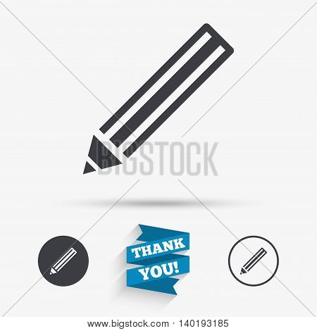Pencil sign icon. Edit content button. Flat icons. Buttons with icons. Thank you ribbon. Vector