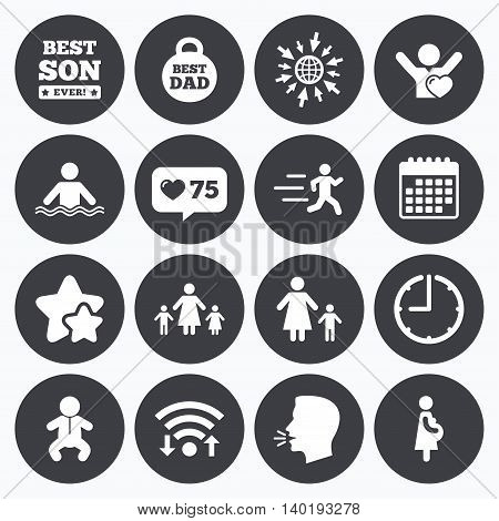 Calendar, wifi and clock symbols. Like counter, stars symbols. People, family icons. Swimming, baby and pregnant woman signs. Best dad, runner and fan symbols. Talking head, go to web symbols. Vector
