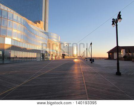 Sunrise  on  the  Boardwalk  in  Atlantic  City,  New  Jersey.