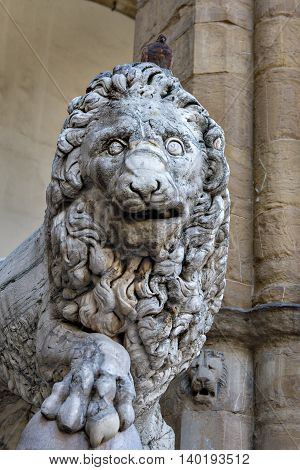 Lion old sculpture in Florence, Italy, Europe