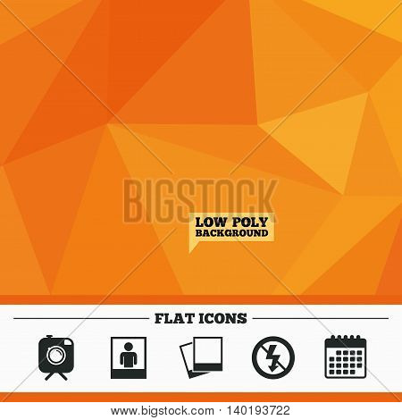 Triangular low poly orange background. Hipster retro photo camera with mustache icon. No flash light symbol. Human selfie portrait photo frame. Calendar flat icon. Vector