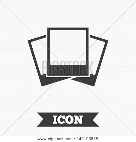 Photo frames template sign icon. Empty photography symbol. Graphic design element. Flat photo frame symbol on white background. Vector